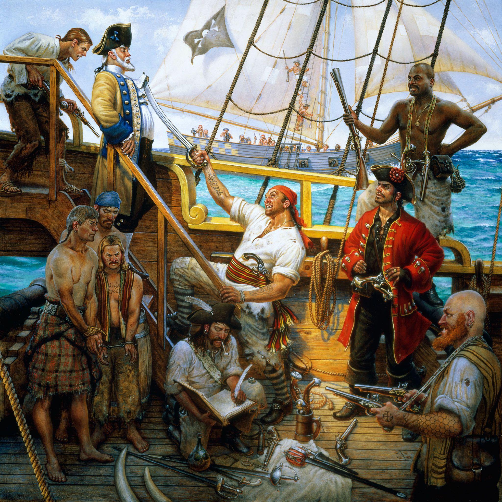 Pirates capturing a merchantship