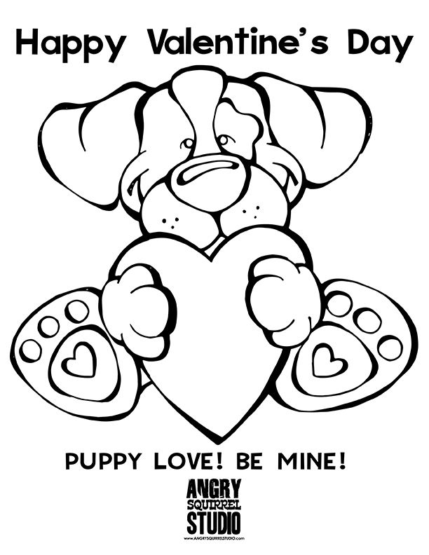 Free coloring page puppy love be mine happy valentines day http