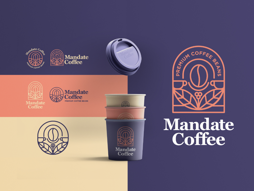Mandate Coffee Coffee Shop Logo Coffee Bean Logo Coffee Beans
