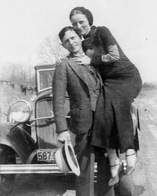 On the night of June 10, 1933 Clyde with Bonnie in the front seat was speeding on a rural road of N Texas so quickly that he missed a detour sign at a bridge under construction. The Ford smashed a barricade and sailed into a dry riverbed. Scalding acid poured out of the smashed car battery and severly burned Bonnie's leg, as a result of 3rd degree burns she walked with a limp for the rest of her life, and she had such difficulty walking that at times she hopped or needed Clyde to carry her.