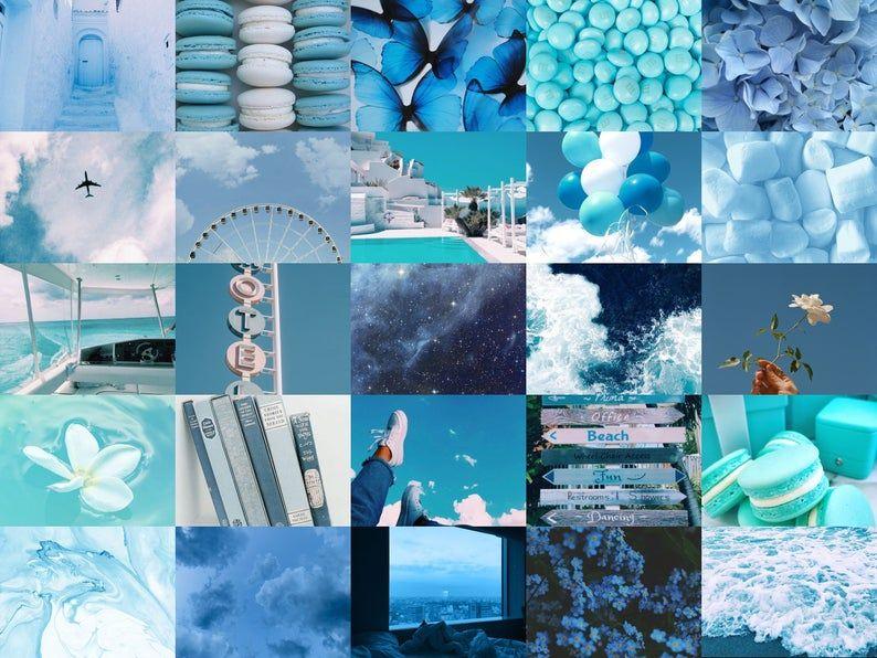 Blue Aesthetic Digital Wall Collage Kit-50 pcs