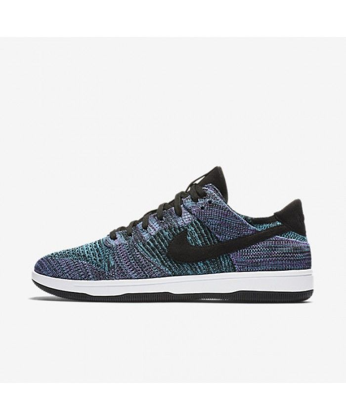 on sale 5cdaa 3f7b0 Nike Dunk Low Flyknit Black Bright Violet White Chlorine Blue 917746-005