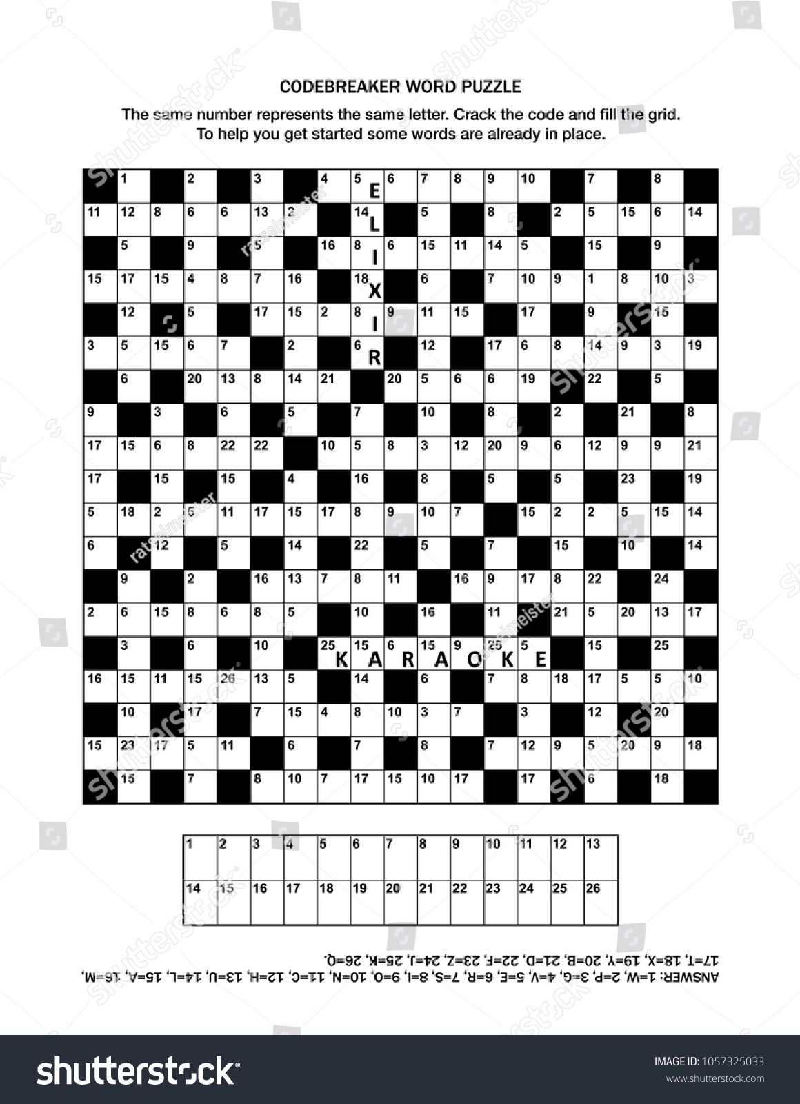 Puzzle Page With Codebreaker Codeword Code Cracker Word