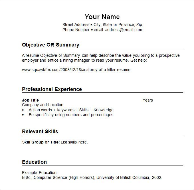 Sample Resume templates Chronological , What Chronological Resume - standard resume template