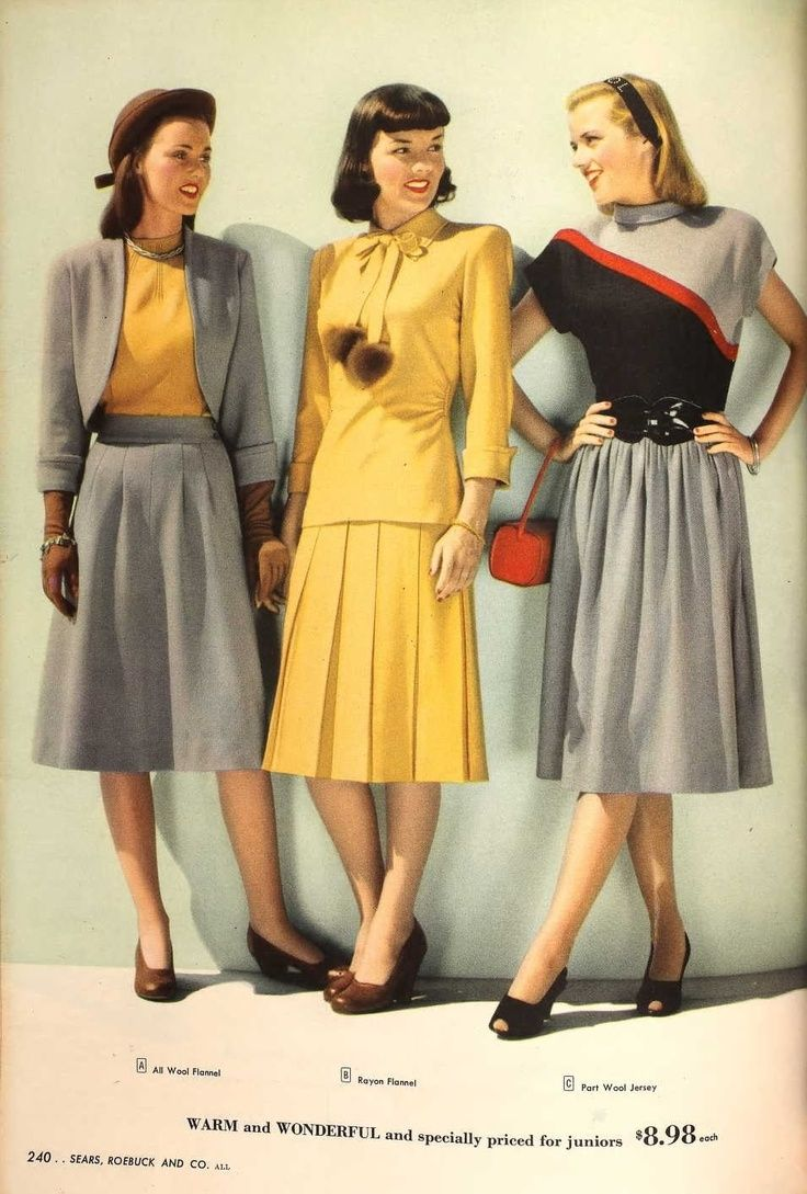 1947 grey yellow black wool suit dress jacket skirt outfit ...