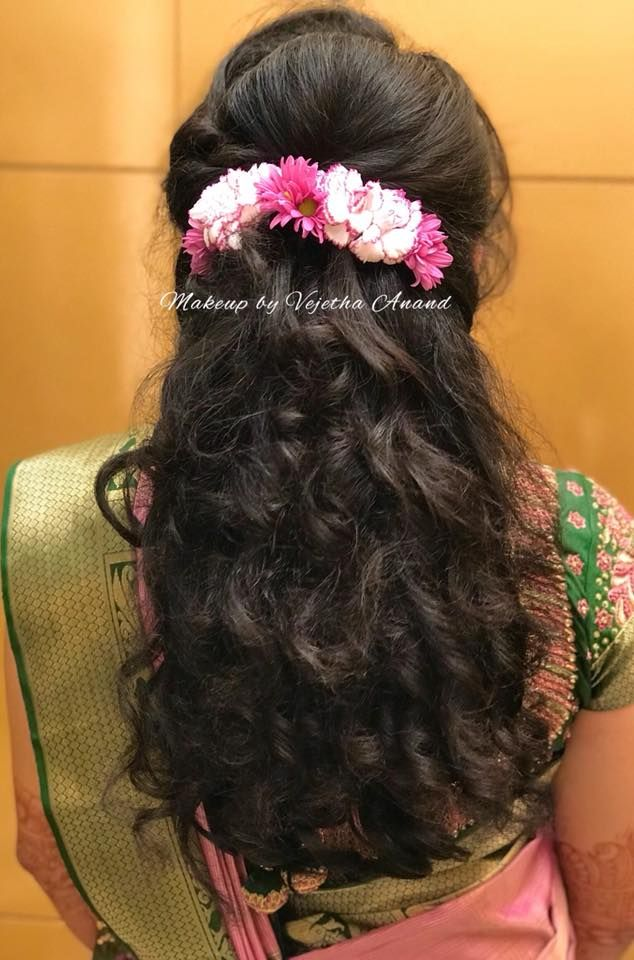 Simple And Easy Bridal Updo Hairstyle By Vejetha For Swank Hair Accessory Curls South India Simple Wedding Hairstyles Hair Styles Indian Wedding Hairstyles