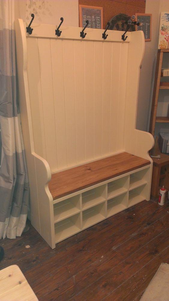 Handmade Bespoke pew / settle with coat hooks and storage Porch FREE ...