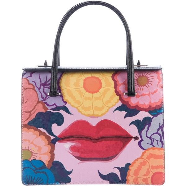Pre-owned Prada Saffiano Lip Print Handle Bag ( 1 86268f6ba8a1b