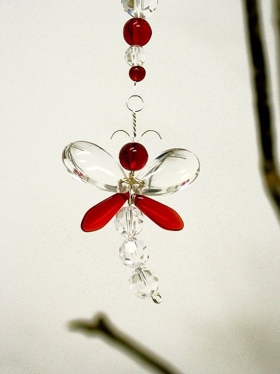 Rear View Mirror Charm Red Dragonfly Suncatcher Hanging Crystal
