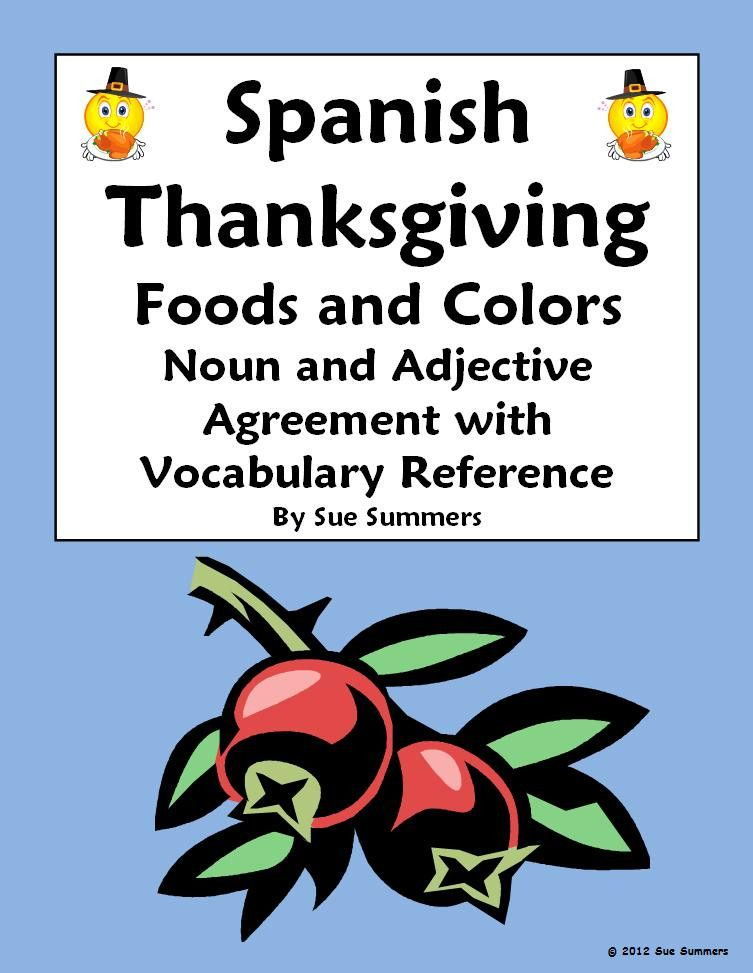 Spanish Thanksgiving Foods And Colors Noun Adjective Agreement By
