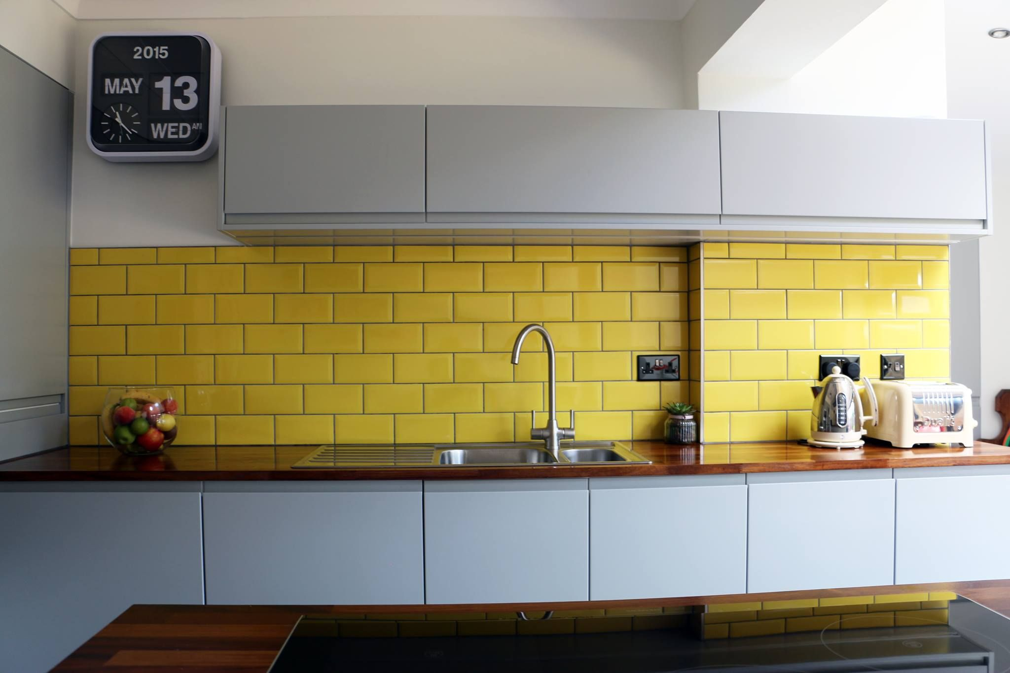 Photo C Melissacon Matte Grey Yellow Tiles Yellow Kitchen