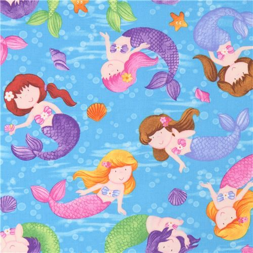 blue cute colorful mermaid fabric Little Mermaids - Children ...
