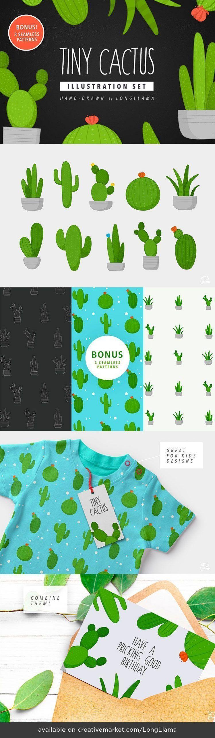 Tiny Cactus Illustration Set  hand-drawn by LongLlama Tiny Cactus Illustration S...#cactus #handdrawn #illustration #longllama #set #tiny