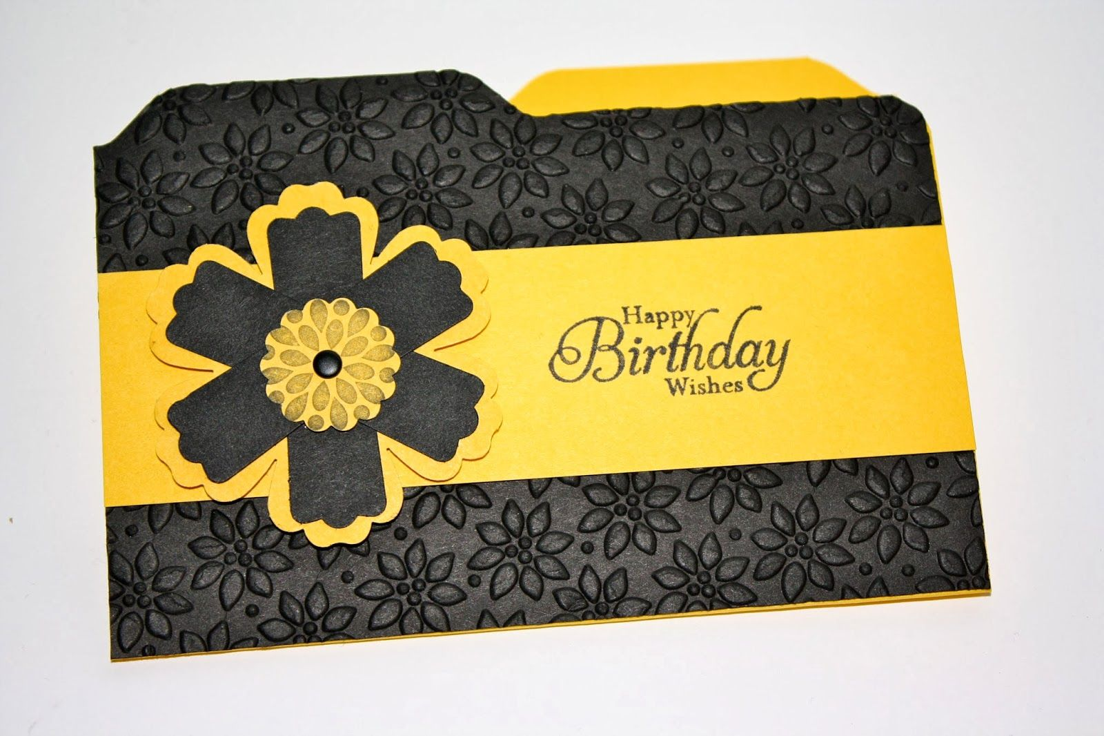 handmade card: Steph's Shoebox: Out of my Comfort Zone with Black and Yellow...  file folder shaped card ... punched flower ... luv the look!  ... Stampin' Up!