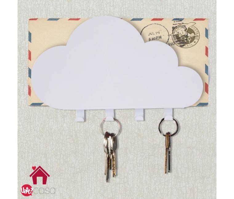 """Um porta-chaves é essencial em toda casa, pois é clássica aquela pergunta: """"Cadê minhas chaves?"""". E aquela outra pergunta: """"Cadê aquela conta que eu tenho que pagar?"""". Para facilitar seu dia-a-dia, criamos este objeto para que você possa guardar suas chaves, cartas e correspondências para não correr o risco de esquecer nada e ainda poder decorar sua casa com muito charme e estilo. Medidas:    CASA: 22cm x 20cm    NUVEM: 21,5cm x 10cm    CARTA: 22cm x 15cm Material: Metal Cuidados de Uso: ..."""