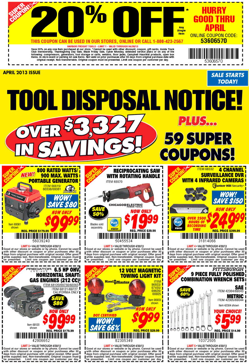 Pinned April 17th 20 Off A Single Item At Harbor Freight Tools Or