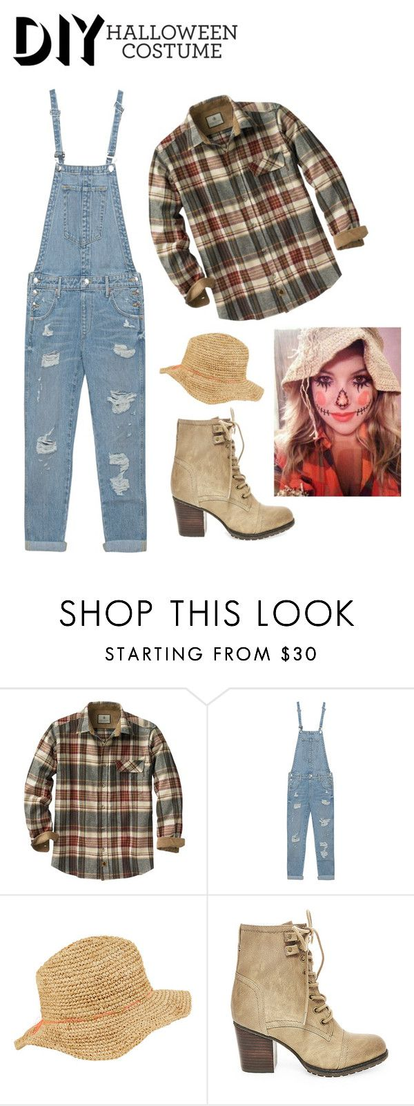 """""""DIY scarecrow costume!!"""" by graci0325 ❤ liked on Polyvore featuring True Religion, Accessorize, Steve Madden, halloweencostume and DIYHalloween"""
