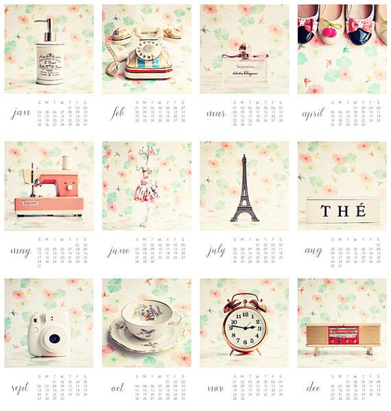 Calendar Girly : Calendrier girly nature morte taille pages