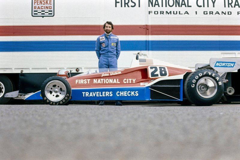 John Watson Poses Behind His Penske Pc4 Ford Classic Racing