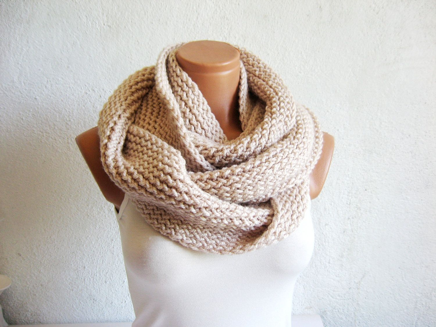 knitted infinity scarf. block infinity scarf. loop scarf, circle