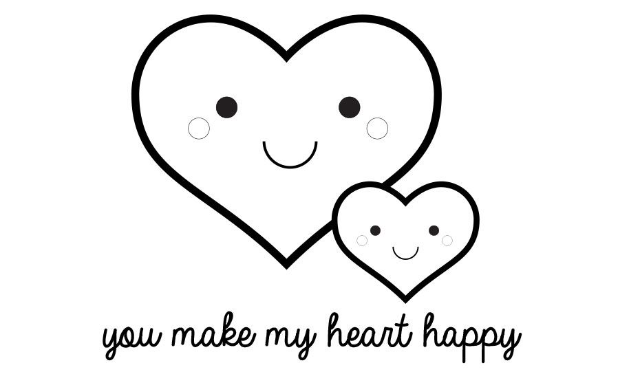 You Make My Heart Happy Valentine S Day Printable Coloring Page Craft Project Id Heart Coloring Pages Valentines Day Coloring Page Valentine Coloring Pages