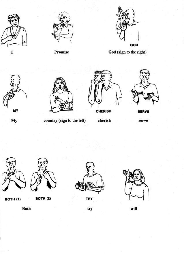 Girl Scout Promise In American Sign Language 2 Pages
