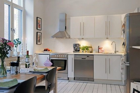 Swedish 58 square meter apartment interior design with Decorating ideas for small apartment kitchens