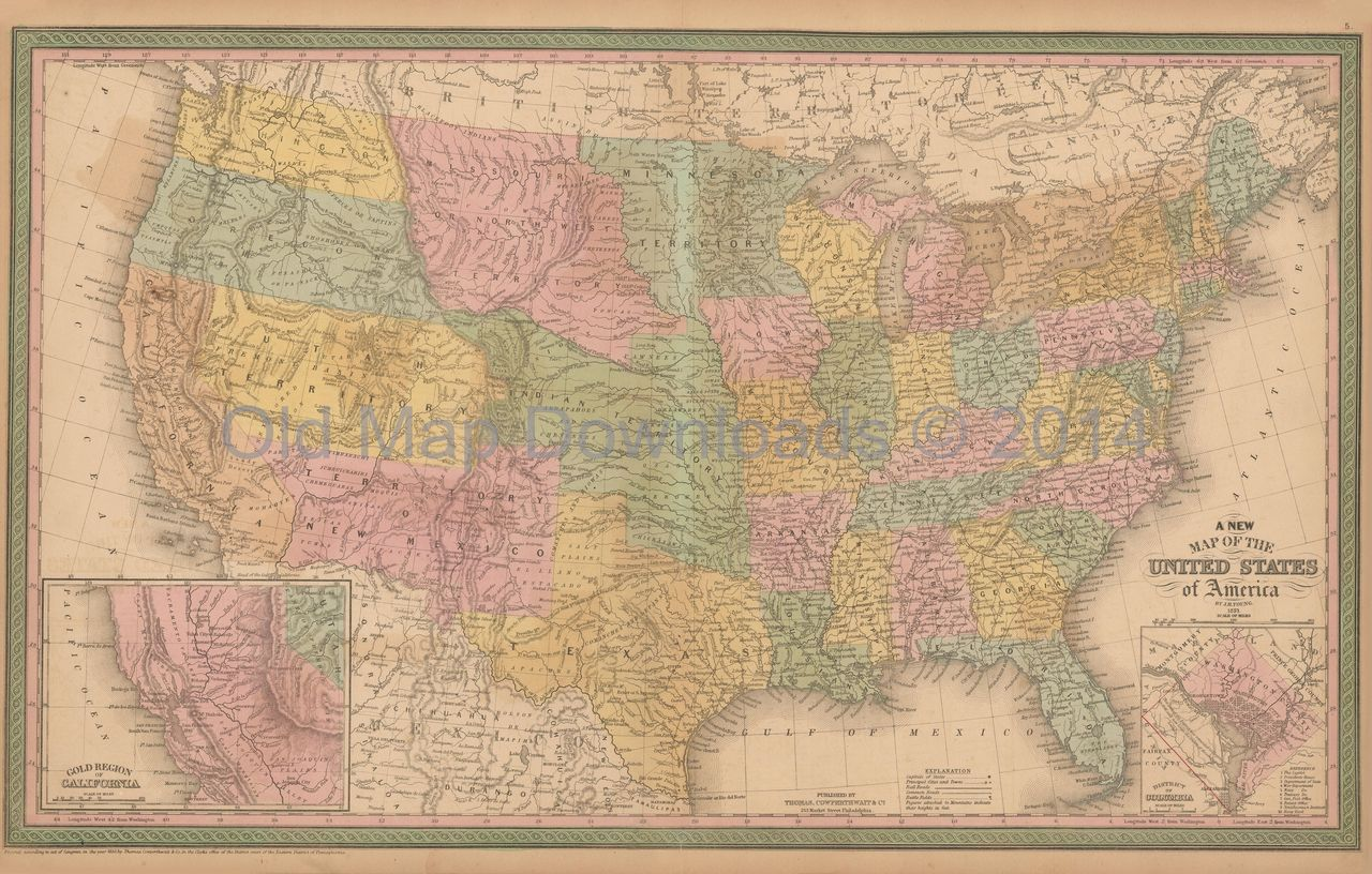 United States Old Map Mitchell Cowperthwait 1853 Digital Image