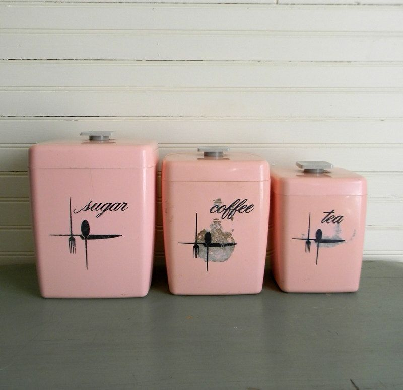 Vintage 1950s kitchen canisters pink kitchen canisters for Kitchen set pink