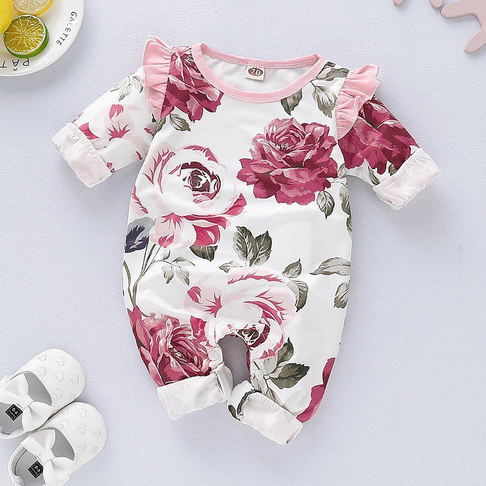 Details about  /Infant Kids Baby Girl Outfits Clothes Romper Bodysuit+Floral Print Shorts Set US
