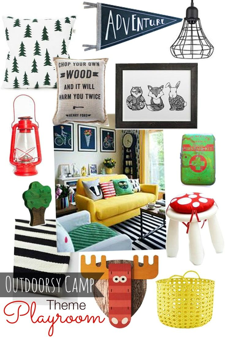 Outdoorsy Camp Themed Playroom Camping Theme Room Camping Theme Bedroom Boy Room #outdoors #themed #living #room