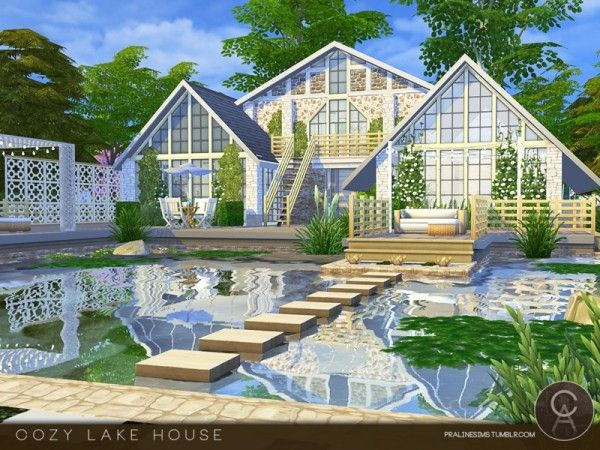The Sims Resource Cozy Lake House By Pralinesims Sims House Sims House Design Sims 4