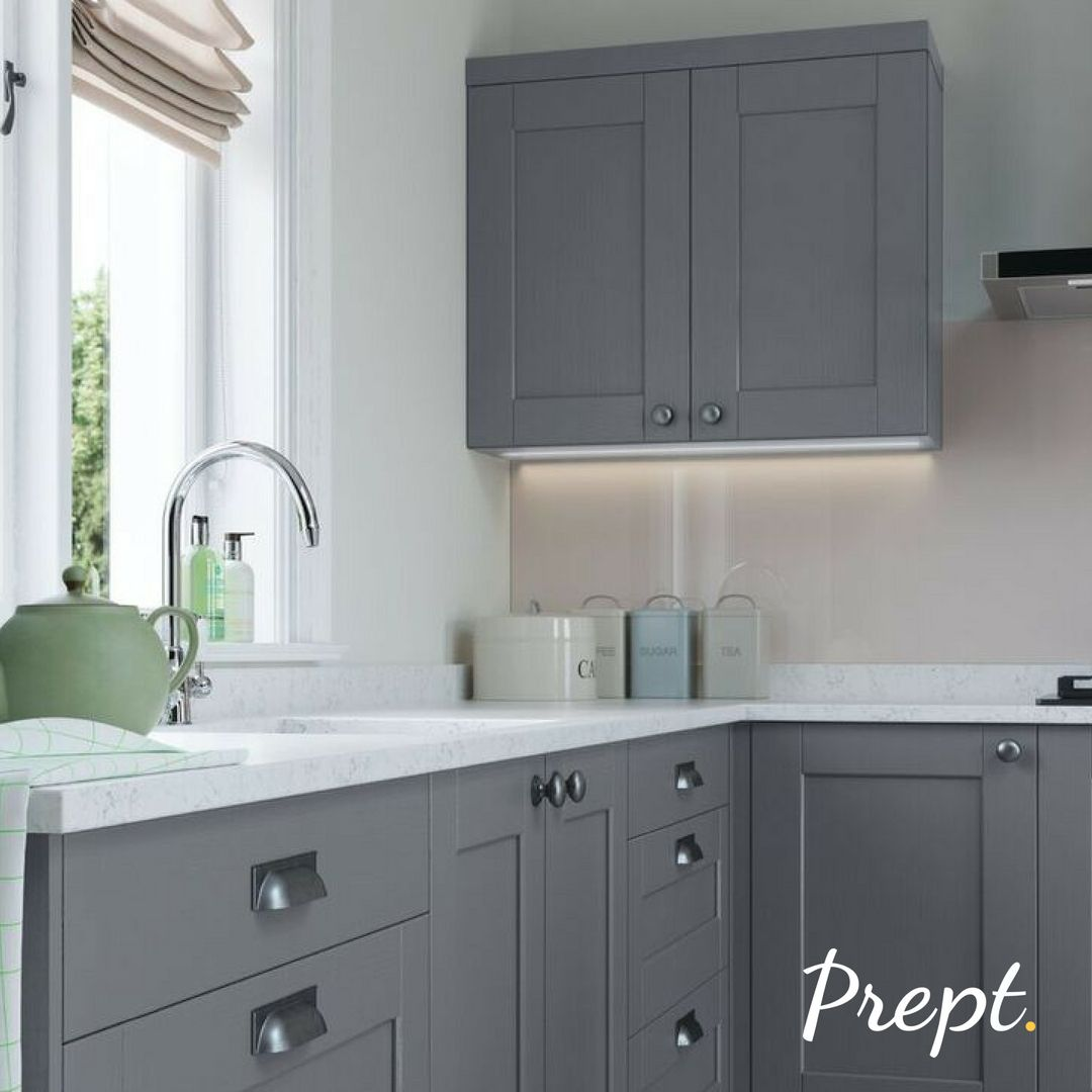 This Modern Shaker Kitchen Is Part Of The Brampton Range In Grey It Looks Great With The Light Fro Grey Shaker Kitchen Light Green Kitchen Light Grey Kitchens