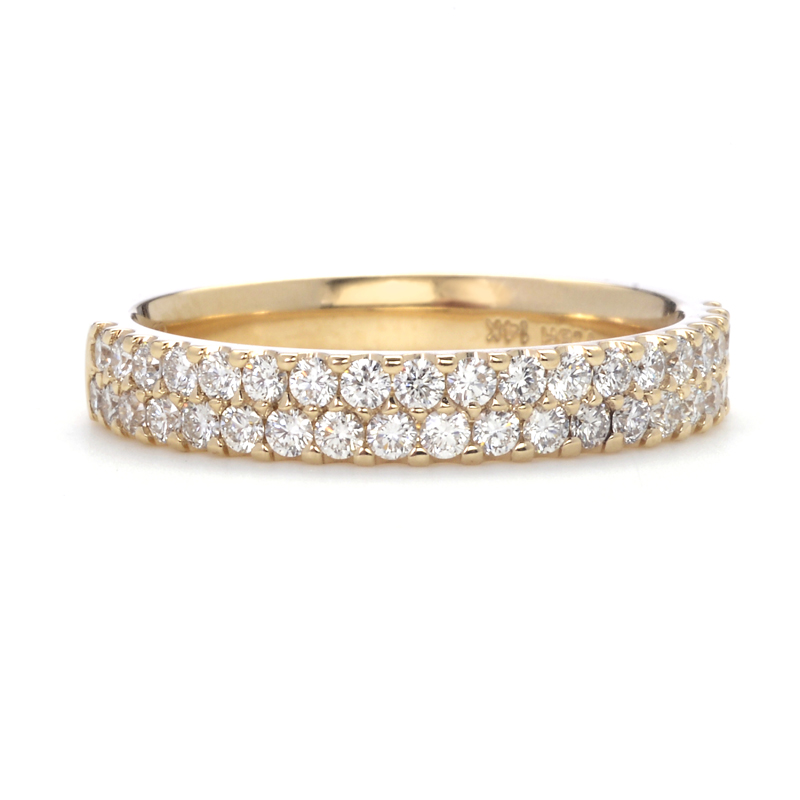 Greenwich Ceremony Collection Double Row Pave Diamond Band In Yellow Gold
