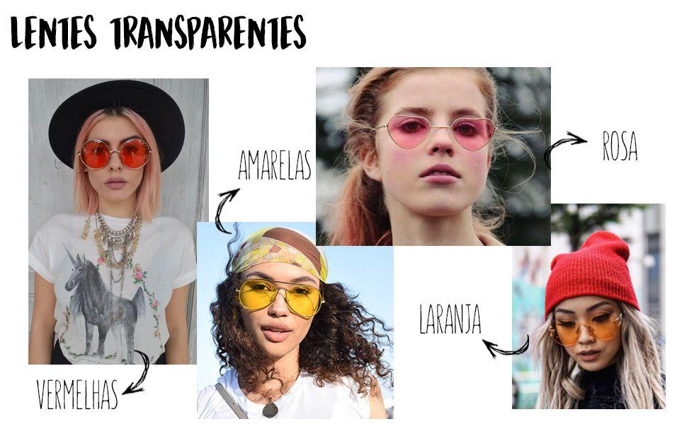 Tendência  Óculos com lentes transparentes coloridas!   Tendências ... b2d5f5e597