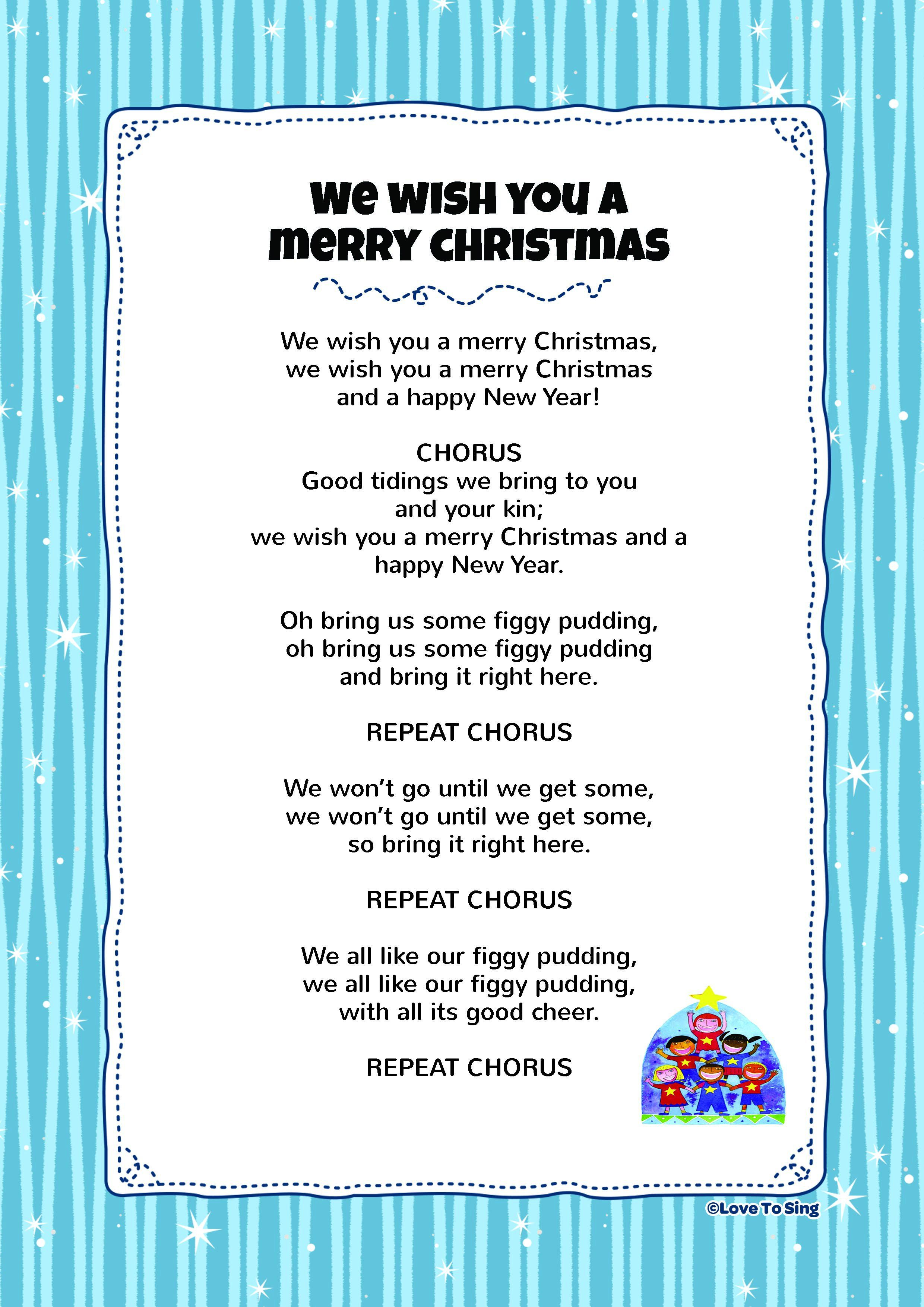 """Free lyrics download """"We Wish You A Merry Christmas"""" Have"""