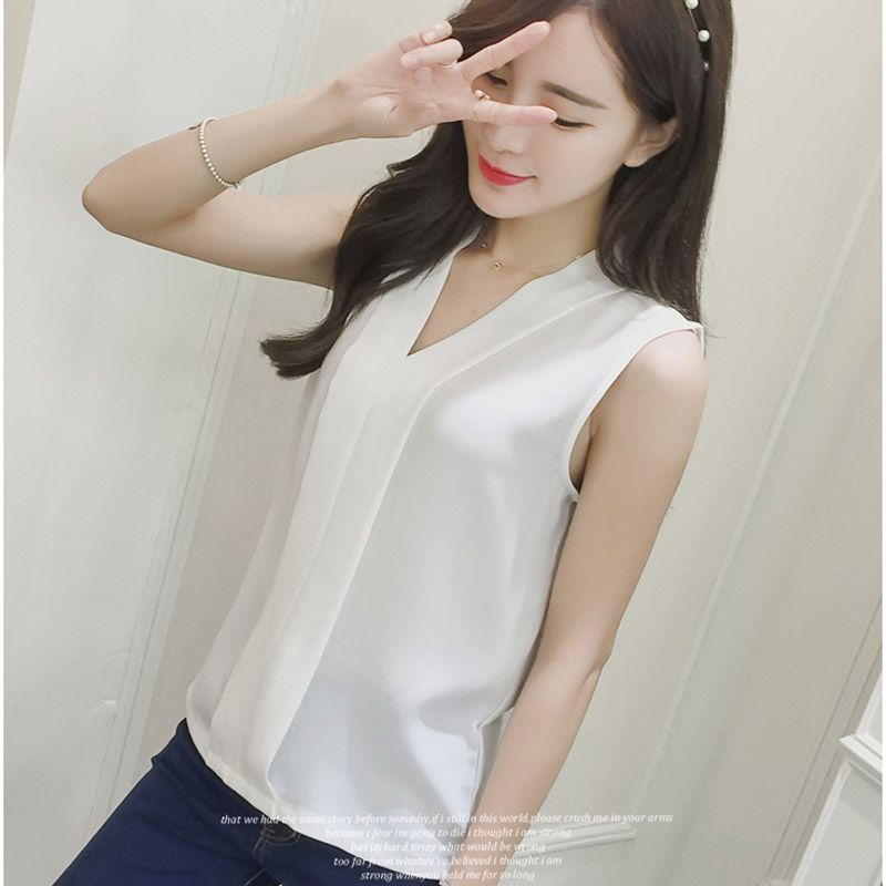 Summer Style 2016 Blusas Femininas Women Casual White Chiffon Blouse Shirt  Fashion V-Neck Sleeveless