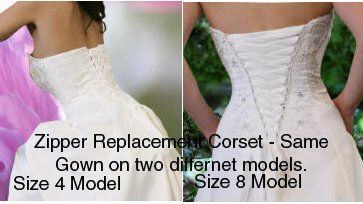 wedding dress zipper replacement adjustable fit corset