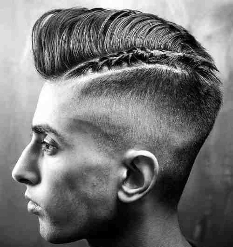 Braided Razor Part With Pompadour Hairstyles For Men Pinterest