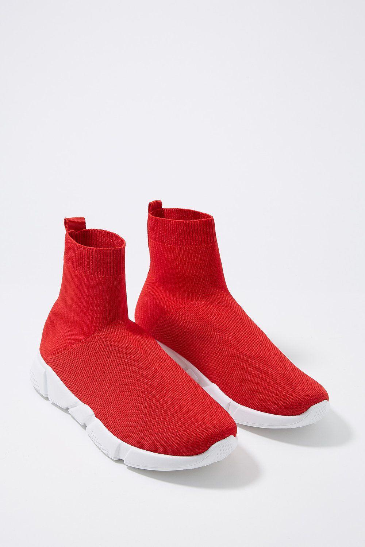 Women Knit Sock Sneaker Red | Socks