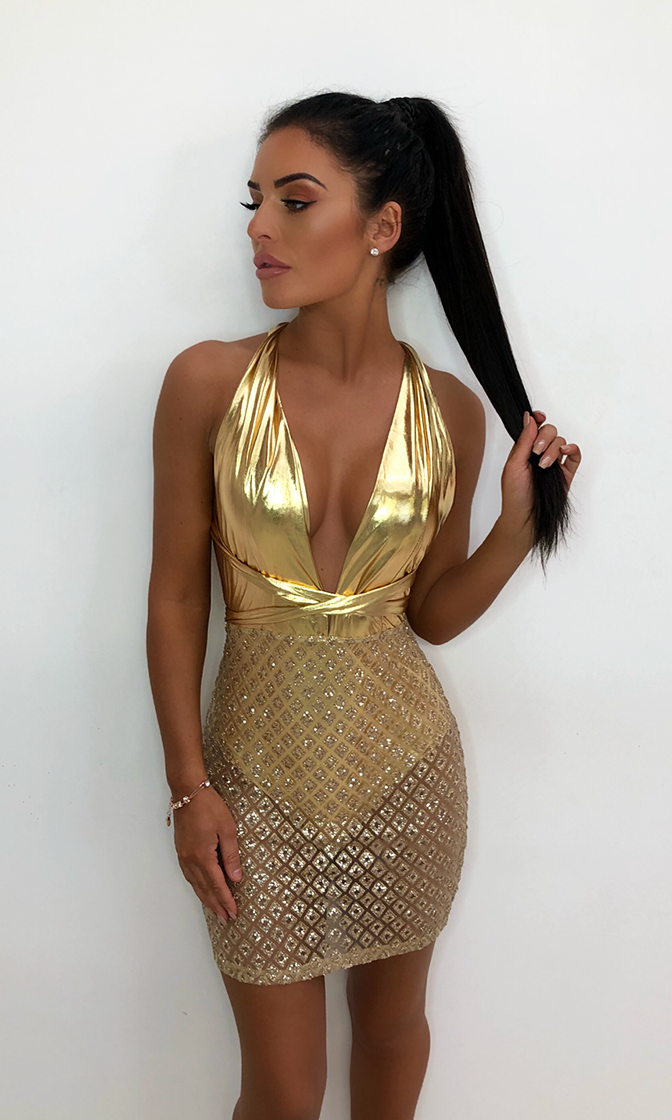 No Vacancy Gold Diamond Geometric Pattern Sleeveless Sheer Sequin Plunge V Neck Bodycon Mini Dress - Sold Out 2