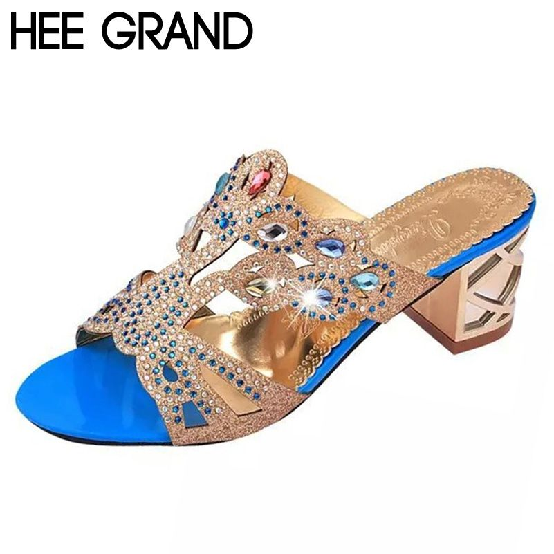f9b0968ee HEE GRAND Woman Slippers Bling Bling Crystal Metal Summer Style Shoes Woman  Square Med Heel Fashion. Women s SlippersSlide SandalsBling ...