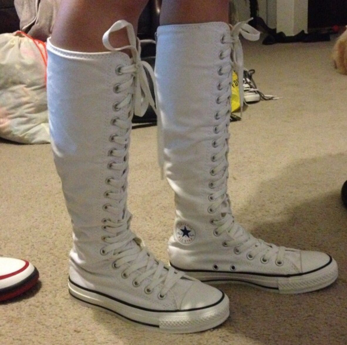 ed34b10f69601 One of my pair of white knee high converse | My collection of knee ...