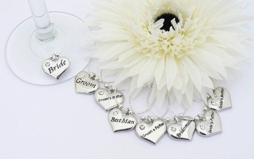 Wedding Table Decoration Wine Glass Charms  Set of 8 ** Read more  at the image link.