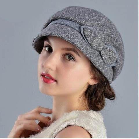 62501b77fa15ed Elegance winter wool bucket hat with bow for women warm winter hats ...