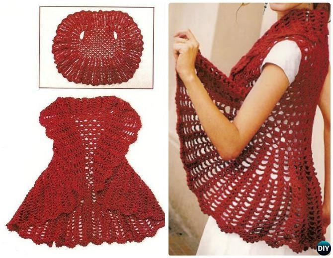 Diy Crochet Circle Vest Free Pattern Crochet Circular Vest Sweater
