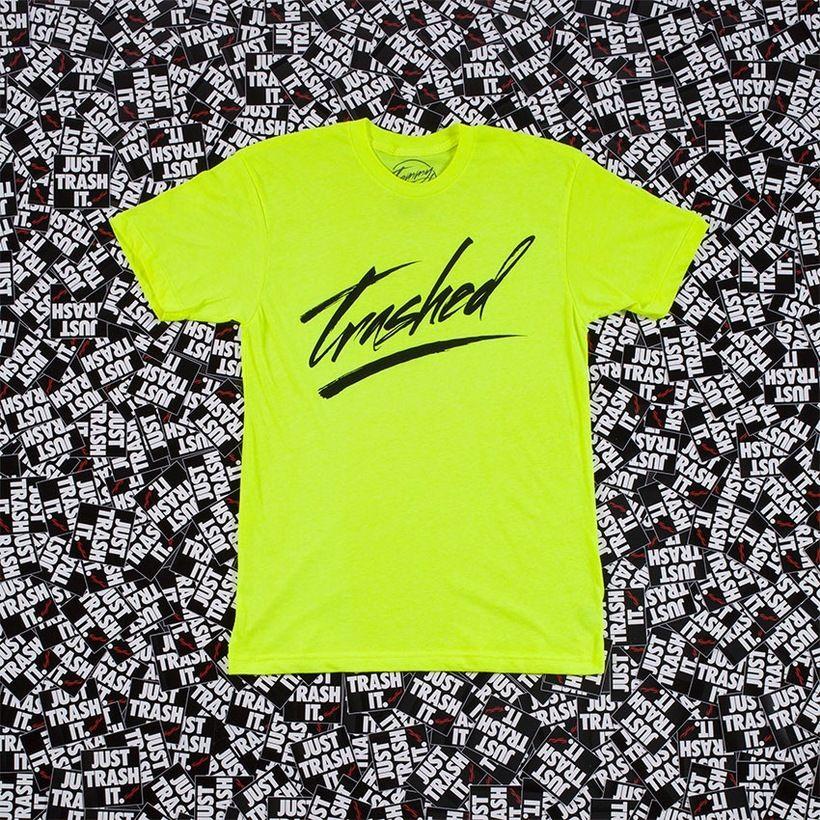 Trashed Logo Tee Neon Yellow Ultrasoft 50/50 combed