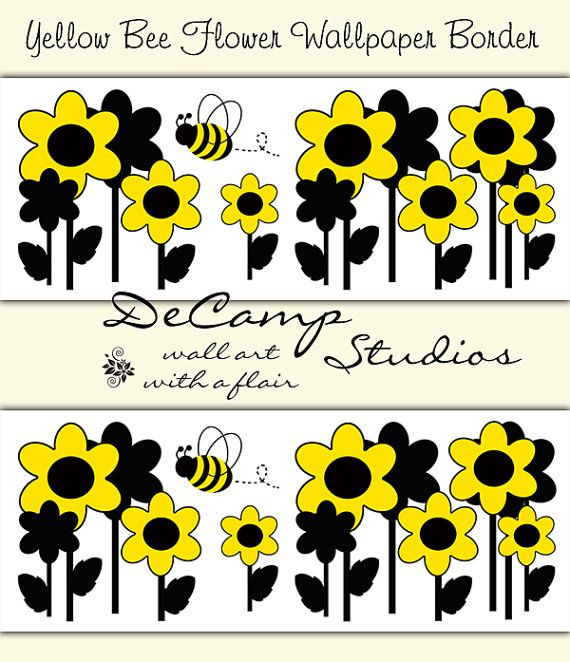 Yellow Black Flower Bumble Bee Wallpaper Border Floral Wall Decals For Baby  Girl Nursery, Childrens Bedroom Decor, Or Any Home Decorating Ideas