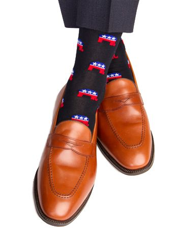 Dapper Classics Republican Elephant Cotton Linked Toe Sock