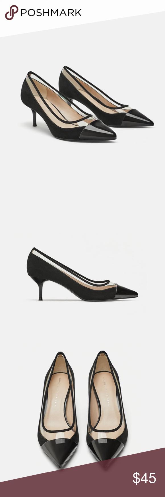 76bbcb17717 NWT Zara Mid-Height Heels with Vinyl New with Tag Zara Mid-Height Heels